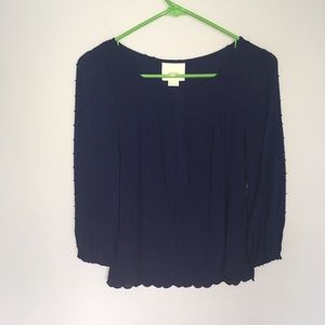 Anthropologie Maeve dotted navy blue blouse